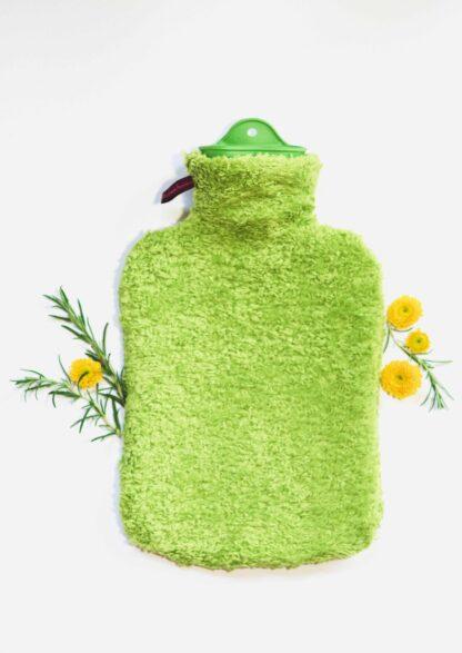 Bezug für Wärmflaschen grün, Wärmflasche